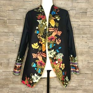 Misslook black and floral open cardigan